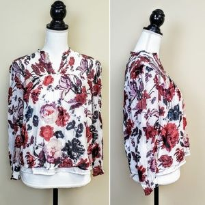 LUCKY BRAND Peasant Top, Pink Red Floral Boho, S